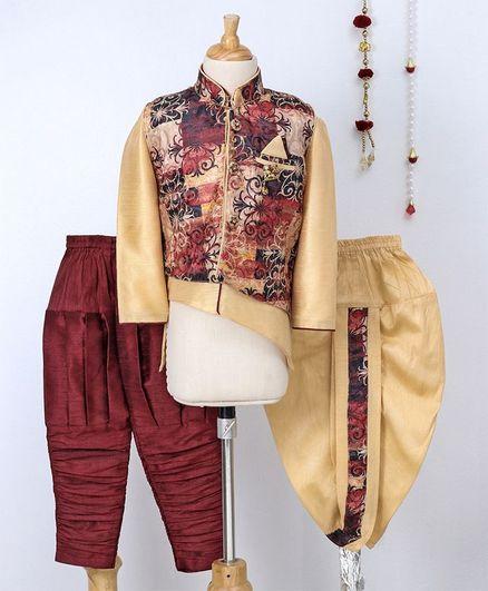 Jeet Ethnics Kurta Pajama & Dhoti Set With Jacket - Beige & Maroon