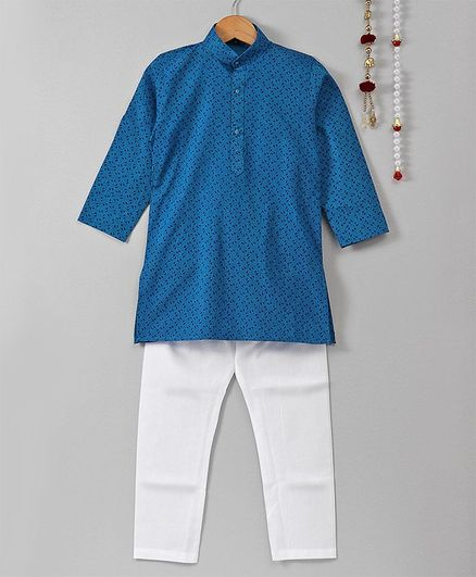 Jeet Ethnics Printed Full Sleeves Kurta & Pajama Set - Blue