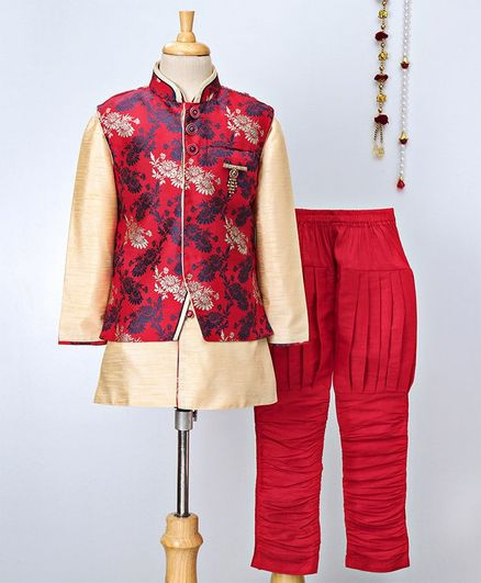 Jeet Ethnics Kurta With Sleeveless Jacket & Pajama Set - Maroon