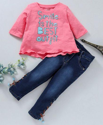Babyhug Three Fourth Sleeves Tee With Denim Pants Smile Print - Pink