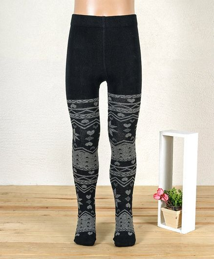 Mustang Footed Tights Heart Design With Frill - Black