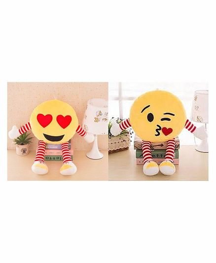 Frantic Smiley Plush Cushion With Hands & Legs Yellow - Pack of 2