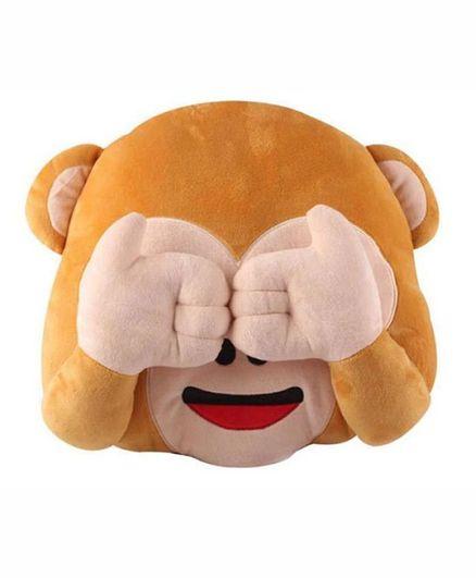 Frantic Plush Mizaru Monkey Cushion - Brown
