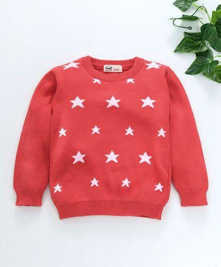 Simply Full Sleeves Tee Star Print - Red