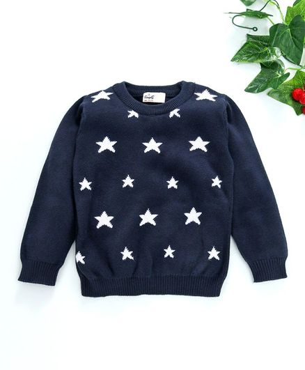 Simply Full Sleeves Tee Star Print - Navy