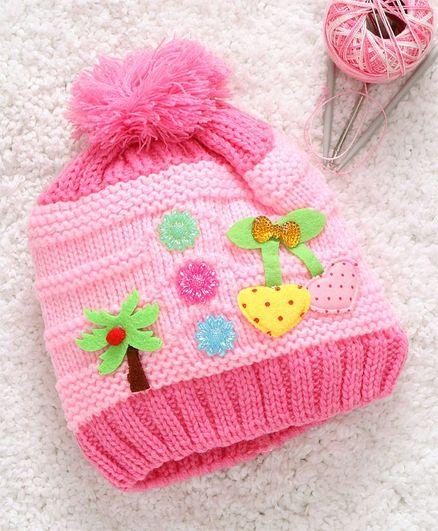 Babyhug Woollen Cap Tree Motif - Light Pink