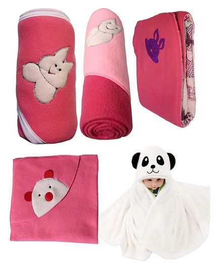 My NewBorn Premium Multipurpose Baby Wrappers Dark Pink Pink - Pack of 5