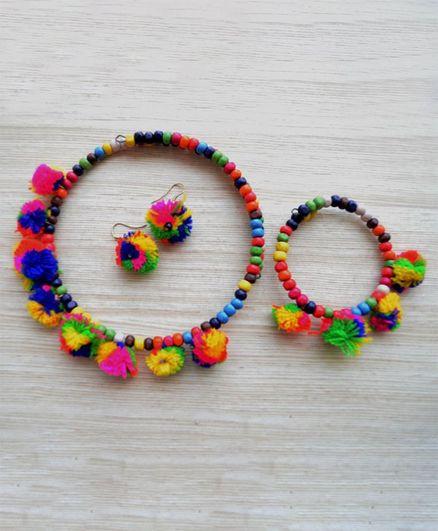 Pretty Ponytails Beads & Pom Pomdesign Necklace & Earring With Bracelet Set - Multicolor