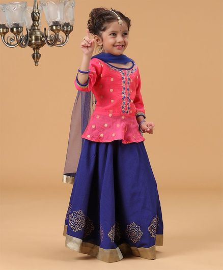 Babyhug Three Fourth Sleeves Lehenga Choli With Dupatta Floral Print & Embroidery - Pink Royal Blue