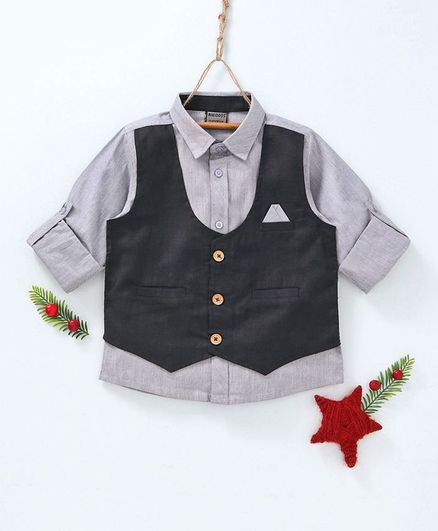 Rikidoos Full Sleeves Shirt With Attached Waistcoat - Grey