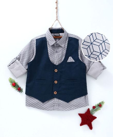 Rikidoos Full Sleeves Printed Shirt With Attached Waistcoat - Grey & Blue