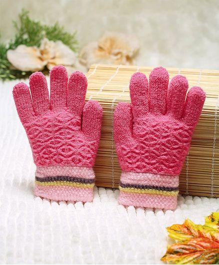 Babyhug Hand Gloves Self Design - Pink
