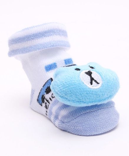Cute Walk by Babyhug Socks Shoes Doggy Applique - Light Blue White