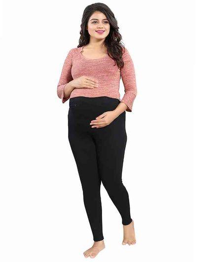 Mamma's Maternity Solid Full Length Maternity Legging - Black