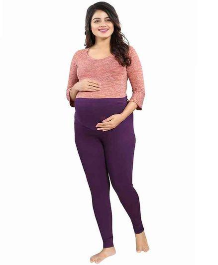 Mamma's Maternity Solid Full Length Maternity Legging - Purple