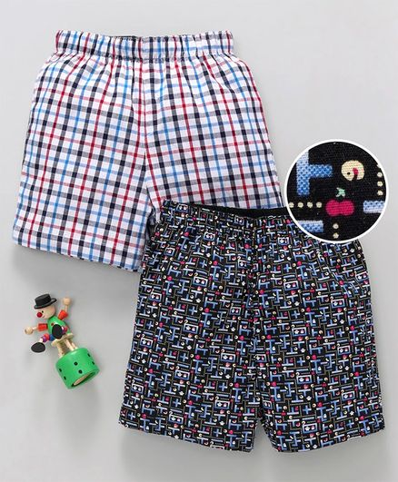 5e82d9f470b Buy Babyhug Cotton Woven Boxer Shorts Pacman Print   Check Pattern Pack of  2 White Black for Boys (18-24 Months) Online in India