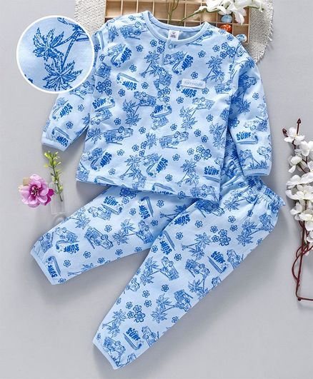 Buy ToffyHouse Full Sleeves Night Suit Surf Print Light Blue for Boys ... 937adf13d