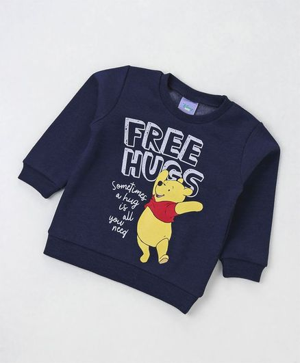 Fox Baby Full Sleeves Winter Tee Winnie The Pooh & Text Print - Navy