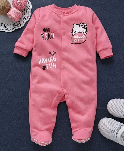 9cdb007da424 Buy Fox Baby Full Sleeves Footed Romper Hello Kitty Print Pink for ...