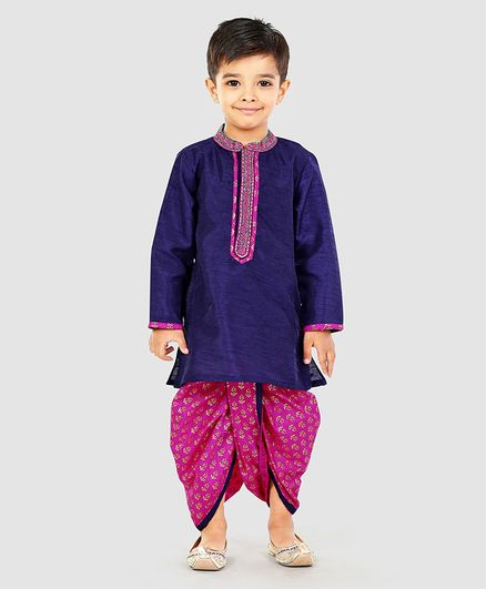 Babyhug Full Sleeves Silk Kurta And Dhoti Set - Blue & Pink