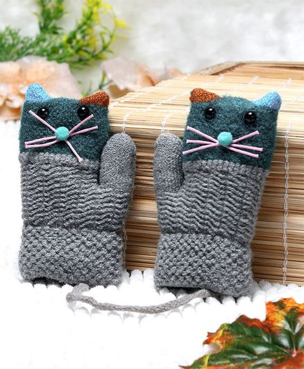 Babyhug Winter Hand Gloves Cat Design - Grey