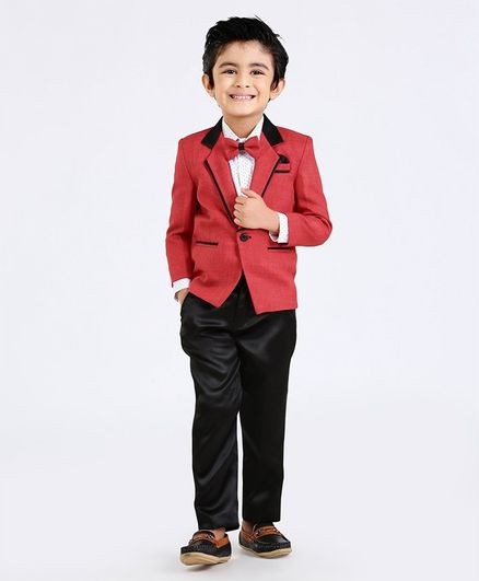 Babyhug Full Sleeves Three Piece Party Suit With Bow - Red