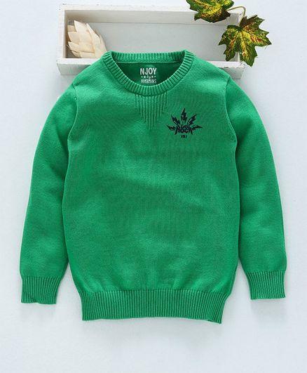 Vitamins Full Sleeves Sweater Lets Rock Print - Green