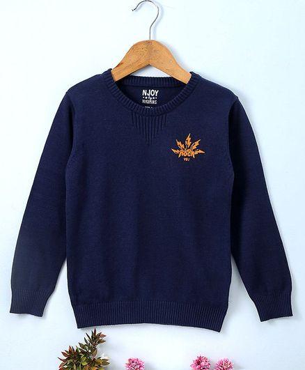 Vitamins Full Sleeves Sweater Lets Rock Print - Navy Blue