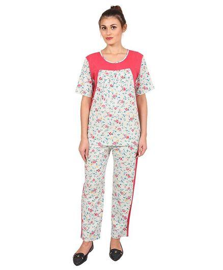 9teenAGAIN Floral Printed Night Suit Set - Pink & White