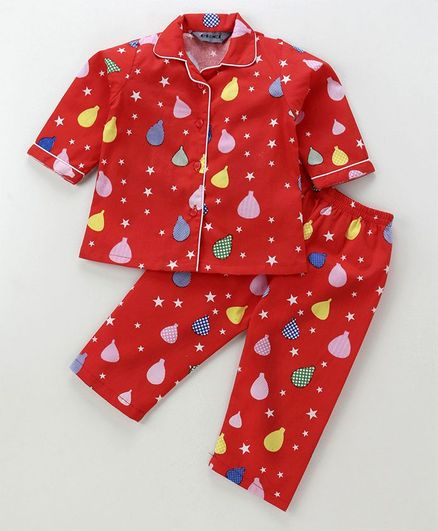 f7426a171f Buy Enfance Core Balloons   Star Printed Night Suit Set Red for Both ...