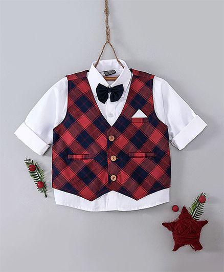 Rikidoos Shirt With Bow Checkered Waistcoat - White & Maroon