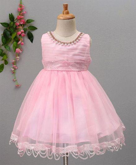 effc4079a096 Buy Aodaya Pearl Neckline Sleeveless Dress Pink for Girls (0-3 ...