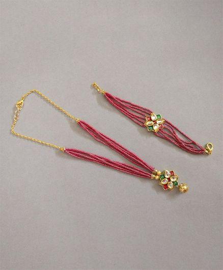 Tiny Closet Beaded Necklace & Bracelet Set - Pink