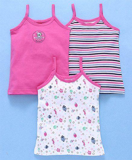 Babyhug Singlet Cotton Slips Pack of 3 - White Pink