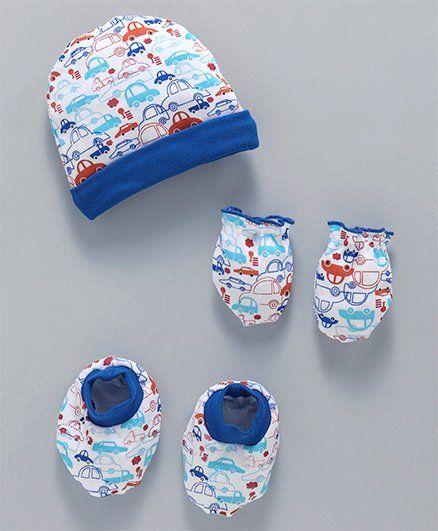 Babyhug Cap Mittens & Booties Set Car Print - Blue White
