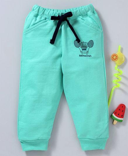 Babyhug Full Length Track Pants Badminton Print - Green