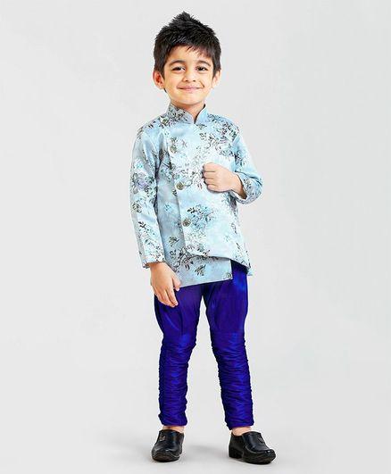 Ridokidz Full Sleeves Floral Printed Kurta With Pyjama Set - Blue