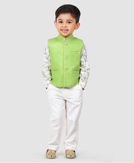 Babyhug 3 Piece Party Suit - Green & White