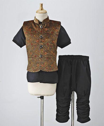 Babyhug Half Sleeves Shirt & Pant With Embroidered Jacket - Gold & Black