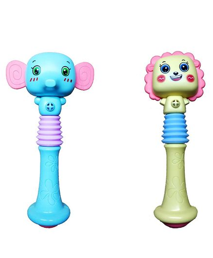 Emob Animal Face Squeezable Musical Baby Rattle Toy Set of 2 (Colours & Designs May Vary)