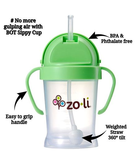 Zoli BOT Sipper Cup With Handles Green - 175 ml