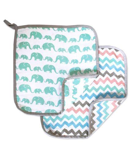 Masilo Linen For Littles Organic Cotton Wash Cloths Elephant Print Sea Green Multicolour- Pack of 2
