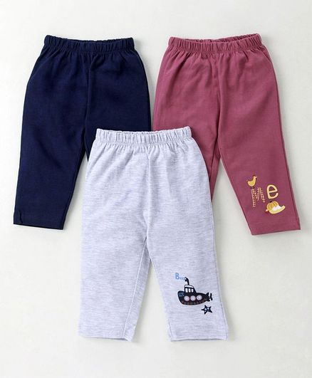 Ohms Full Length Lounge Pant Pack of 3 -  Grey Maroon & Navy Blue