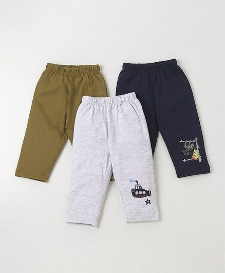 Ohms Full Length Lounge Pant Pack of 3 -  Light Grey Navy Blue Green
