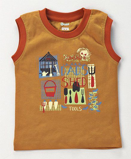 1a88b858596bc0 Buy Ohms Sleeveless Cotton Vest Dads Shed Print Brown for Boys ...