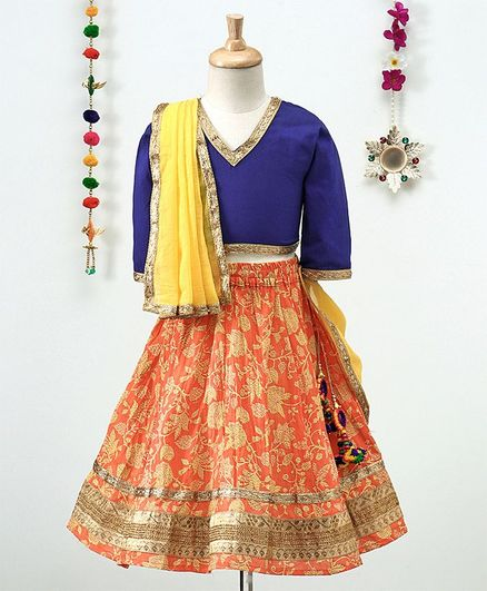 Kidcetra Solid Choli And Printed Lehenga With Dupatta -  Yellow,Blue & Orange