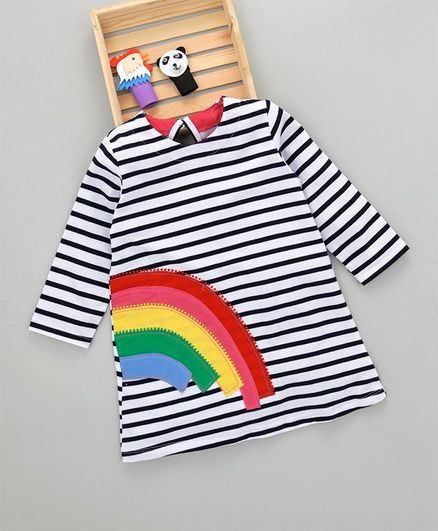 Kookie Kids Striped Rainbow Theme Full Sleeves Dress - Black & White