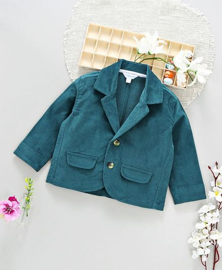 ToffyHouse Full Sleeves Party Wear Corduroy Blazer - Teal Blue
