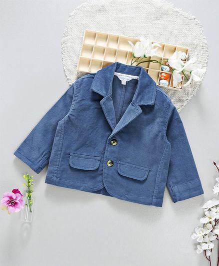 ToffyHouse Full Sleeves Party Wear Corduroy Blazer - Blue