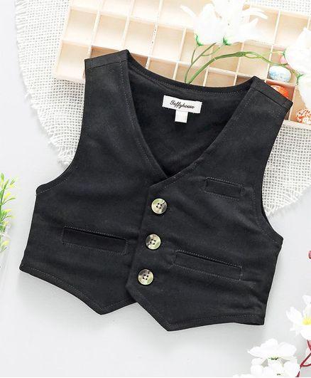 ToffyHouse Party Wear Waistcoat - Black
